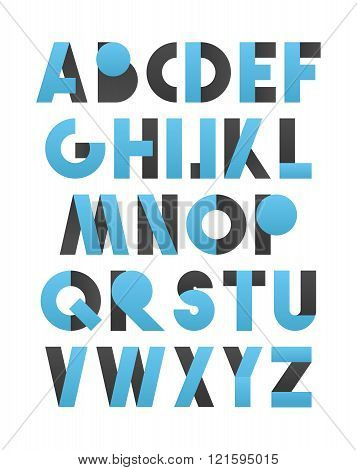 Retro font in blue and grey. Blue alphabet. Realistic letters