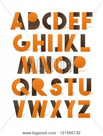 Retro font in brown and orange. Orange alphabet. Realistic letters