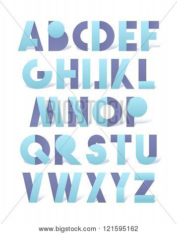 Retro font in blue and lilac. Blue alphabet with shadow