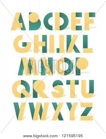 Retro font in green and yellow. Green alphabet. Realistic letters