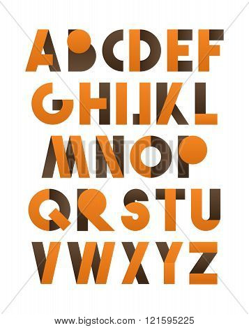 Retro font in orange and brown. Brown alphabet. Realistic letters