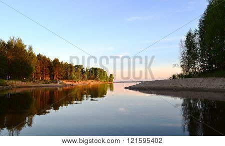 Evening landscape.Beautiful nature.beautiful places.Volga riverside.Silent backwater at sunset.Nature of Russia.Travel into the wild