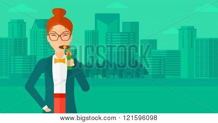 Woman smoking cigar.