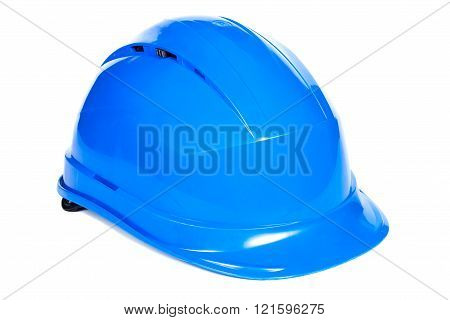 Closeup Of Blue Protective Helmet On White Background