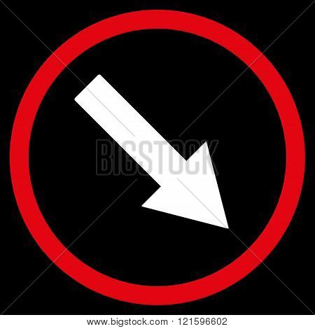 Down-Right Rounded Arrow Flat Vector Symbol