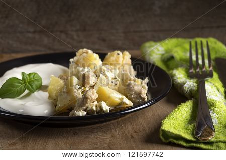 Potatoes Gratin With Sour Cream And Chicken Meat