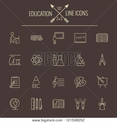 Education icon set.
