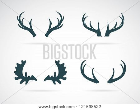 Vector Antler Icon Set On White Background. Horn