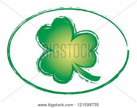Green Shamrock Grunge Stamp Style Symbol Icon, St Patricks Day 2