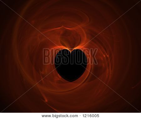 Heart On Orange Background