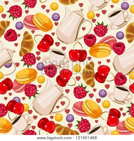 Seamless pattern in french style with food