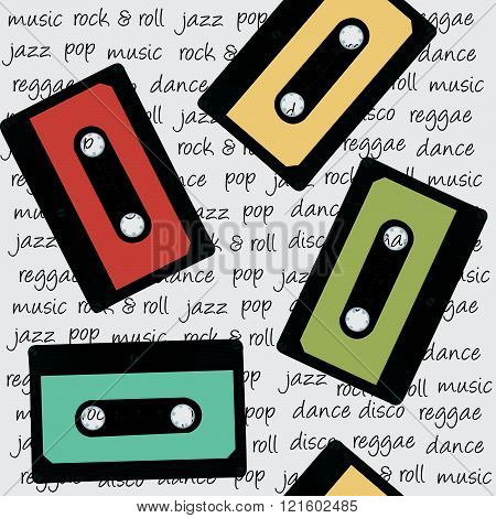Retro musical background with colored audio cassettes
