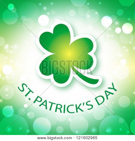 St Patricks Day card with shamrock background 2
