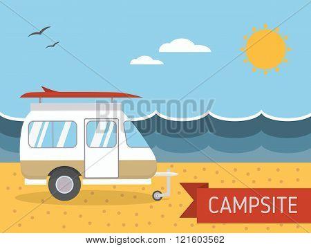 Summer Beach Caravan Trailer Camping Landscape