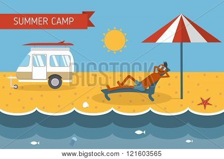 Summer Beach Camping Postcard With Lounging Guy
