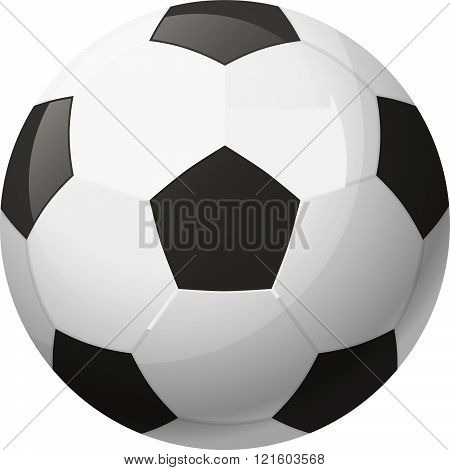 Leather black and white soccer ball