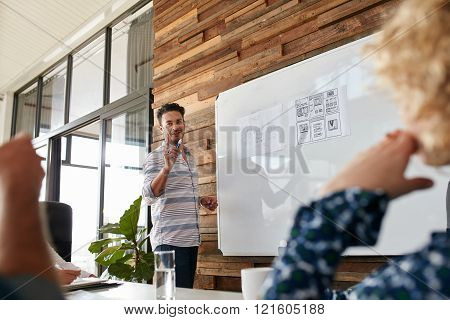 Young Man Discussing New Mobile Application During A Creative Pr