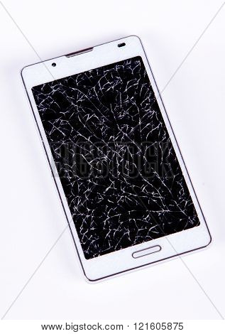 broken mobile phone on isolated background