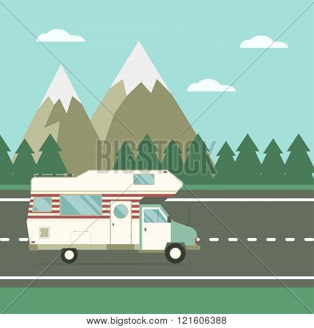 Traveler Truck On The Road On Countryside Landscape