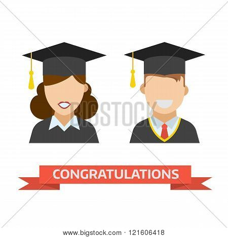 Graduation Man And Woman Vector Icon