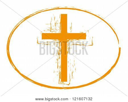 Grunge cross stamp style, christian cross symbol isolated on white background, vector illustration 3