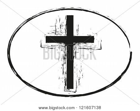 Grunge cross stamp style, christian cross symbol isolated on white background, vector illustration 2