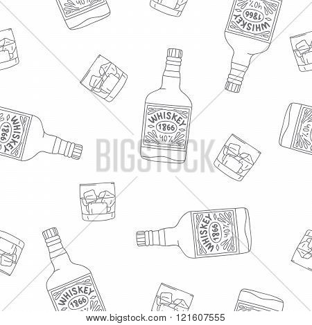 Seamless Pattern Of The Bottles And Glasses Of Whiskey