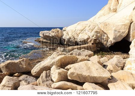 A white rock on the Mediterranean coast near the Rosh Hanikra, Israel