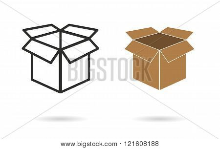 Box vector icon. Black illustration isolated on white background for graphic and web design.