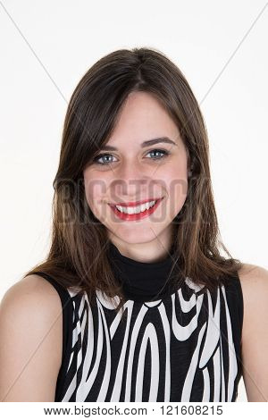 Portrait Of Attractive  Caucasian Smiling Woman Brunette Isolated