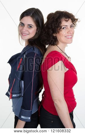 Happy Teenager Girl And Middle Aged Mother Isolated