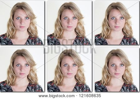Passport Picture Of A Woman With Long Blond Hair  - Usa Form