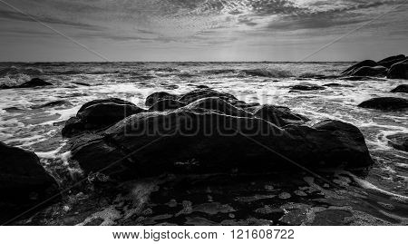 Black And White And Blue Sea