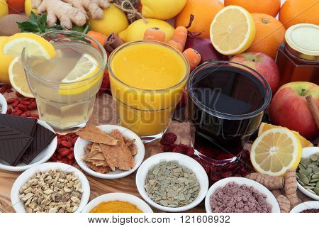 Health food, drinks and natural  herbal medicine for cold and flu remedies high in antioxidants and vitamin c.