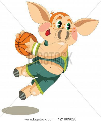 a little piglet is basketball player with a ball