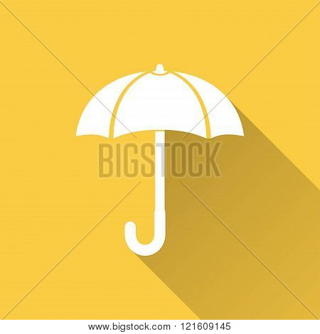 Umbrella vector icon with long shadow. Illustration for graphic and web design.