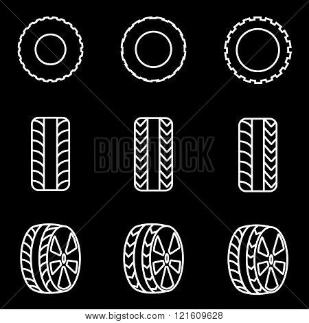 Vector Line Tire Icon Set