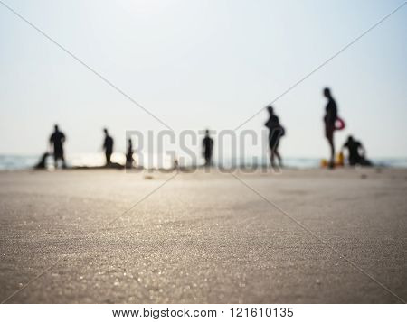 Family Silhouette People on beach Outdoor lifestyle background