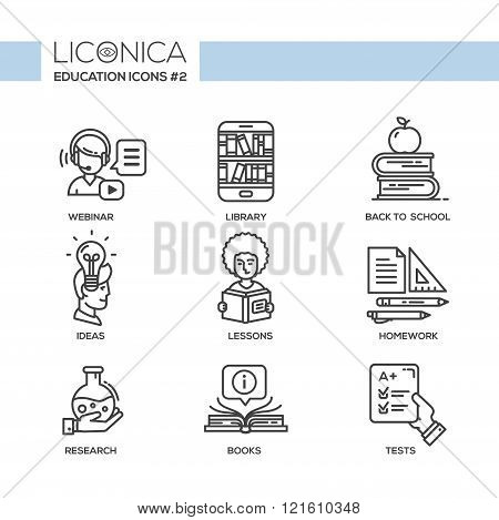 Set of modern vector education simple thin line flat design icons and pictograms. Collection of education infographics objects and web elements. Webinar, library, back to school, ideas, lessons, homework, research, books, tests