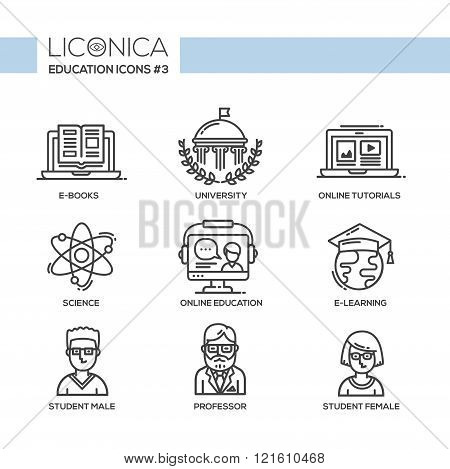 Set of modern vector education plain thin line flat design icons and pictograms. Collection of education infographics objects and web elements. E-books, university, online tutorials, science, online education, e-learning, student male, professor, student