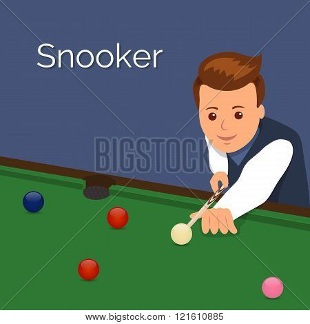 The player billiards. Man aim to make an impact on the ball. The game of snooker