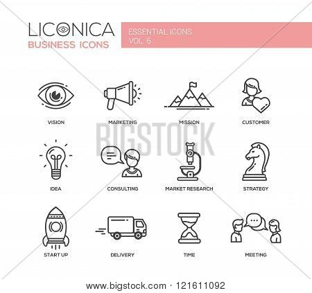 Set of modern vector office plain thin line flat design icons and pictograms. Collection of business infographics objects.  Marketing, customer, consulting, market, research, strategy, time, delivery, meeting, vision, idea, start up