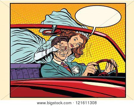 Wedding trip bride groom car
