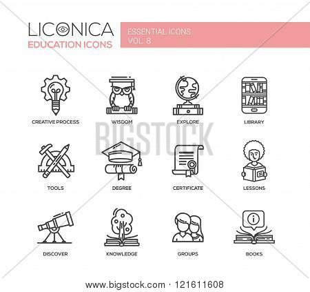 Set of modern vector education simple thin line flat design icons and pictograms. Collection of education infographics objects. Creative process, wisdom, explore, tools, degree, certificate, discover, knowledge, groups, library, lessons, books