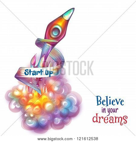 Vector illustration of cartoon rocket with text