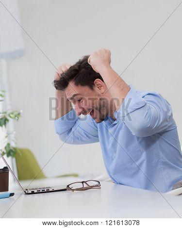 Male freelancer happy