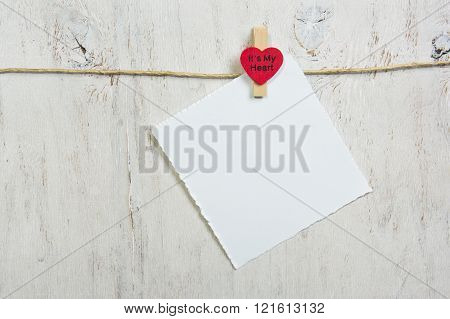 Note Attached Red Heart
