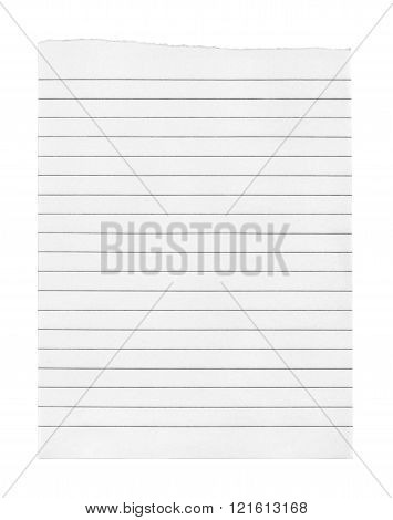 page ripped off from the notebook isolated on a white background
