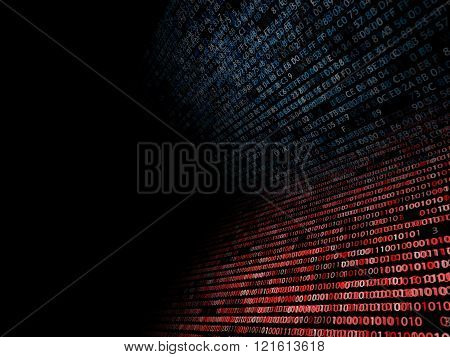 Binary And Hexadecimal Code Up A Computer Screen On Black Background. Blue Digits.