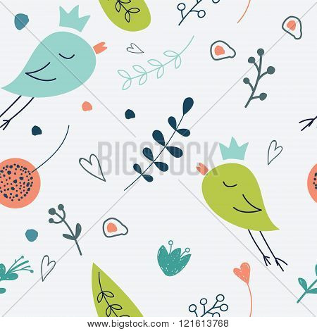 Seamless Vector Floral Pattern. Love Illustration Of Cute  Flowe